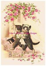 Kitty Cat Wedding Vintage Print REPRO Fabric Block 5x7