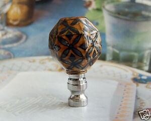 One of Brown Hand Painted Floral Porcelain Lamp Shade Finial
