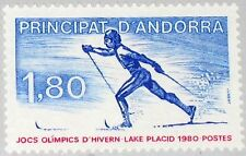 ANDORRA FRENCH FRANZ. 1980 304 276 Winter Olympics Lake Placid Cross Skiing MNH