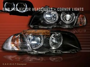 1999-2001 BMW 3 SERIES E46 4DR TWIN HALO HEADLIGHTS W/ CORNER LIGHT BLACK AMBER