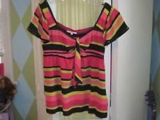 NANETTE LEPORE womens striped silk smocked back blouse top Sz 10
