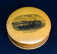Antique Treen Mauchline Ware Trinket Pot Llandudno Pier Excellent