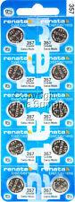 10 pc 357 Renata Watch Batteries SR44W FREE SHIP 0% MERCURY