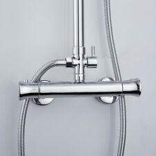 "Chrome Thermostatic Shower Mixer Valve Bar Exposed Modern 1/2"" Outlet Brass Tap"