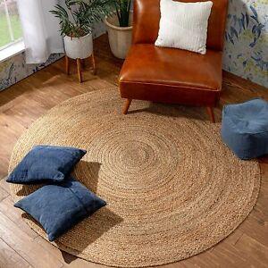 Round Rug Jute Natural Reversible 100% Jute Style Rug Braided Modern Rustic Look