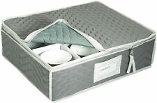 """China Cup Storage Chest - Deluxe Quilted Microfiber 13""""H x 15.5""""W x 5""""D"""