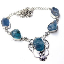 Rough Fluorite 925 Sterling Silver Plated Handmade Jewelry Necklace 28 Gm-D28