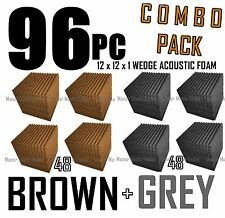 ComBo 96 pack BROWN and charcoal GREYAcoustic Wedge Sound Studio Foam 12x12x1
