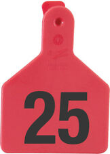 """Z-Tag Calf Tag Short Neck 2-3/8"""" W x 3-1/4"""" H Hot-Stamped #151-175 Red 25ct"""