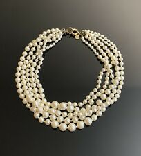 J Crew gold tone multi strand Pearl beaded necklace