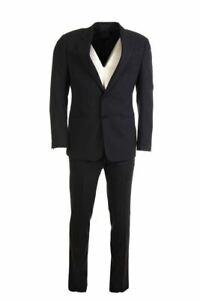 BRUNO SAINT HILAIRE Suit Navy Stripe Wool Blend Size 48 / 38R BW 574a