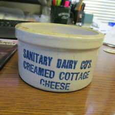Butter Crock  Muskegon, Mich. Sanitary Dairy Co's. Creamed Cottage Cheese TINY