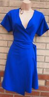 PRIMARK ROYAL BLUE SHORT SLEEVE V NECK WRAP SKATER A LINE WRAPPED DRESS 12 M