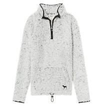 Victoria's Secret Pink Sherpa Quarter Zip Pullover Sweatshirt Grey Gray M