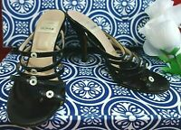TODD OLDHAM VINTAGE BLACK LEATHER STRAPPY TOE RING BUTTON SANDALS HEELS 37 6.5