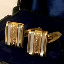 Vintage Jugendstil Art Nouveau Gold Plated Mother of Pearl Art Cufflinks Quality