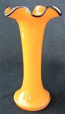 "Czech art glass yellow-oange/black TANGO vase, 7"" h."