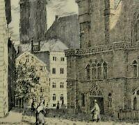 H. Wicke-(?), (XX) schicke Farblithographie: HAMBURG, DIE St:KATHARINEN-KIRCHE