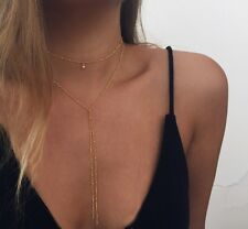 Women's Fashion Jewelry Gold Y Chain Long Necklace Choker Lariat  7-1