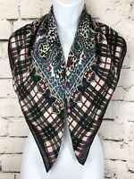 Vintage Glentex Scarf Plaid Animal Print Black Red White Made in Japan  29x30""