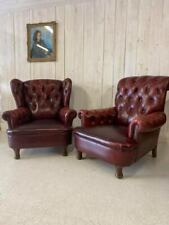 More details for pair of leather ladies and gentlemen library vintage armchairs