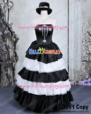 One Piece Cosplay Perona Costume Formal Dress Black White H008