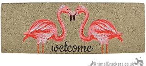 Novelty Flamingo 'WELCOME' thick Coir Doormat non slip Mat Flamingo lover gift