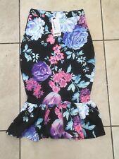 Boohoo Josie Bright Floral Drop Hem Midi Skirt Size 6 Uk BNWT RRP £13.99 Teal