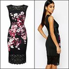 Women's New Elegant Floral Knee Length Lace Round Neck Sleeveless Party Dress