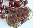 ANTIQUE ART DECO NEIGER BROTHERS CARVED FAUX CARNELIAN CZECH GLASS NECKLACE