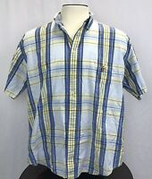 COLOURS ALEXANDER JULIAN SHORT SLEEVE SHIRT BLUE YELLOW PLAID MENS SIZE X-Large