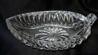 Crystal Glass Canoe Shaped Gravy Boat Candy Dish Relish Bowl
