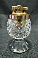"Antique ""CLEAR CUT LEAD CRYSTAL SIMSON"" Table Lighter with Tapered 10 Sided Base"