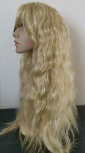 blonde curly wavy frizzy fringe very long hair wig fancy dress cosplay