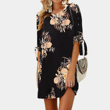 UK Womens Autumn Long Sleeve Floral Tops Casual Loose Shirt Mini Dress Plus Size