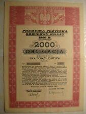 Poland Obligacja .Bond.2000zl.1946