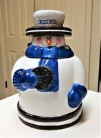 "Vintage 10"" Hand-painted Glazed Oreo Snowman Cookie Jar"