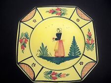"""QUIMPER SOLEIL YELLOW PLATE OCTAGONAL,  LADY  9 3/4"""" DINNER PLATE"""