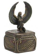 "4.7"" Egyptian Goddess Isis Square Trinket Box Egypt Home Decor"
