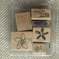 2007 Retired Stampin Up Delight in Life Stamp Set of 6 Flowers Floral Spring EUC