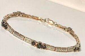 "ROSS SIMONS GOLD VERMEIL STERLING 925 SAPPHIRE DIAMOND ACCENT 7.25"" BRACELET 291"