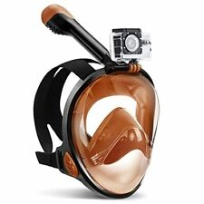 Full Face Snorkel Mask, with Latest Dry Top System and Safety Small Brown