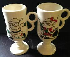 Vtg Retro Santa Christmas Mugs Coffee Cups Tennis Guitar