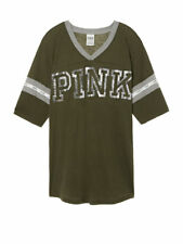 Victoria Secret PINK Olive Green Bling Boyfriend Short Sleeve V-Neck Tee XS