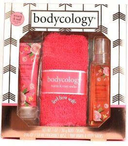 Bodycology Pink Vanilla Wish 3 Pc Body Cream Fragrance Mist & Socks Gift Set