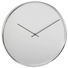 Wm. Widdop Metal Silver Chrome Finish Mirror Dial 40cm Quartz Wall Clock