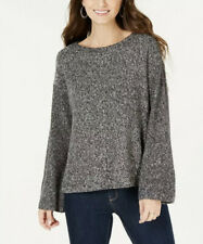 NWT Style & Co. Women's Flare-Sleeve Contrast-Border Sweater Grey/White Size PM