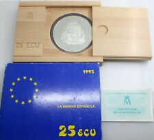 ¨CAJA CERTIFICADA¨ ESPAÑA 1995 25 ECU CINCUENTIN MONEDA PLATA FDC 168.75Gr