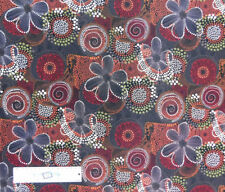 Patchwork Quilting Sewing Fabric Aboriginal Rusty Floral Dots 50x55cm FQ New