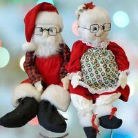 """Vintage Handmade Large Santa Mrs Claus Stuffed Dolls Large 27"""" Sitting 17"""""""
